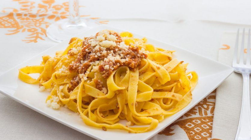 True tagliatelle al ragu from Bologna italy
